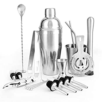 Cocktail Shaker Bar Set,21-Piece Bartender Kit by NFUSPR—Stainless Steel Cocktail Set,26 Oz Shaker for Home and Bar Fashion Bartending Tool Set for an Awesome Drink Mixing Experience