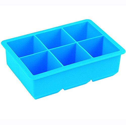 iNeibo Stampi Ghiaccioli in Silicone | Cubetti di ghiaccio - Stampo di 6 Grossi Ghiaccio Perfetto come Accessori Vino e Bar/Azzurro