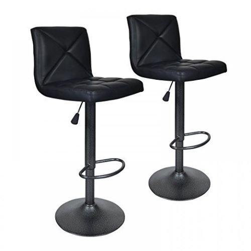 Balance World Inc 2 PU Leather Modern Adjustable Swivel Barstools Hydraulic Chair Bar Stools (Black)