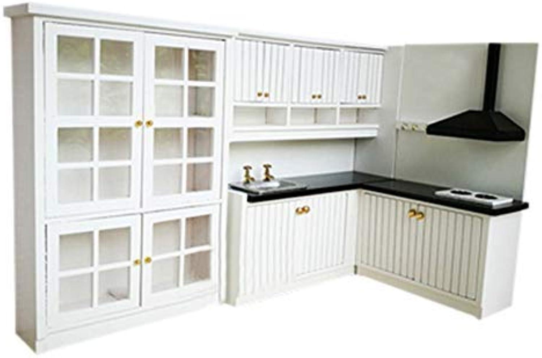 RemeeHi Dollhouse Mini Furniture Model Kitchen Kit Kitchen+Fourdoor Closet