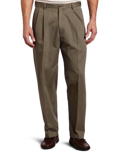 Haggar Arbeitshose für Herren, groß und hoch, verdeckt, erweiterbar, Taillenfalte, vorne - Grün - 60W / 32L