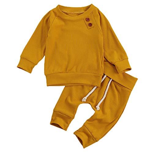 Geagodelia Babykleidung Set Baby Jungen Mädchen Kleidung Outfit Langarm T-Shirt Top + Hose Neugeborene Weiche Einfarbige Babyset T-8718 (Gelb, 3-6 Monate)
