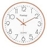 Foxtop Modern Wall Clock, Silent Non-Ticking Quartz Decorative Battery Operated Wall Clock for Living Room Home Office School (Rose Gold Aluminum Frame, Glass Cover, 12 inch, Arabic Numeral)