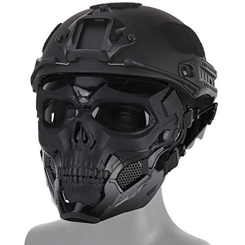 QZY Fast Taktische Helm, Schädel voller Gesicht Maske Schild Schutzausrüstung Kraft - On-Force Gunfighting Training Helm Airsoft MMR Munition und Paintball,BK,Mask+HelmetSet