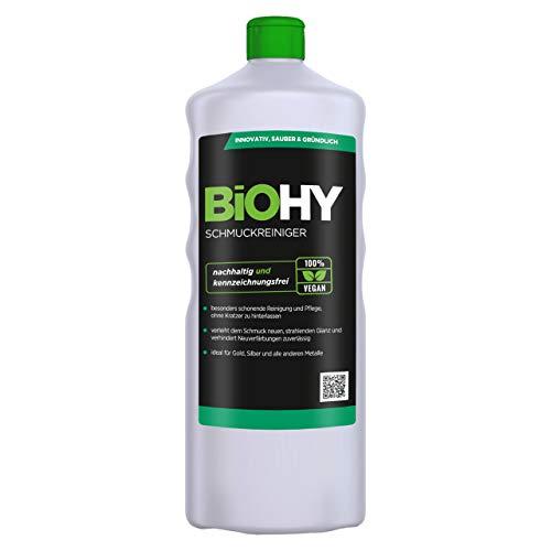 BiOHY Schmuckreiniger (1l Flasche) | AKTIVE GLANZFORMEL | Konzentrat für jedes Ultraschallgerät | Nachhaltige und schonende Reinigung für Uhren, Brillen, Schmuck und Edelmetalle
