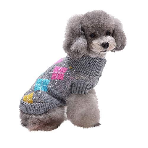 Xmiral Vestiti del Cappotto del Maglione di Amore Caldo di Inverno del Gatto del Cane di Animale Domestico Abbigliamento per Cani e Gatti Grigio M