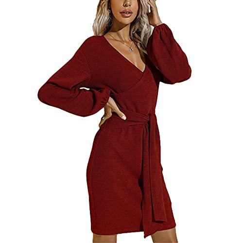 MAHUAOYIXI Mini Vestido Punto Color Sólido para Mujer Cuello en V Profundo Manga Larga Elegante Vestido Otoño Invierno para Mujer Cintura Alta Sexy Moda Femenina Delgado S-XL (Vino Tinto, L)