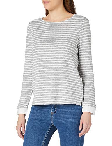 Camiseta bimateria de rayas, manga larga, cuello redondo, Gris Oscuro, M