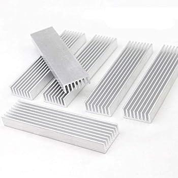 WeiMeet 6 Packs Aluminum Heat Sink Heatsink Module Cooler Fin for High Power Transistor Semiconductor Devices with 8 Pieces Fins 100mmx 25mm x 10mm