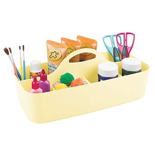 mDesign Cesta de plástico portátil con 11 Compartimentos – Cestas de almacenaje para Manualidades o como costurero – Organizador de lápices, Botones, Tijeras y Pinturas – Amarillo Claro