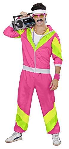Scherzwelt Herren 80 er Jahre Trainingsanzug - Jogginganzug Gr. S bis XXL - pink - Partnerkostüm (L 52)