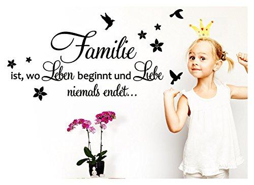 Grandora Wandtattoo Familie ist wo Leben beginnt + Vögel I Gold (BxH) 90 x 40 cm I Wohnzimmer Flur Sticker Aufkleber Wandsticker Wandaufkleber W5439