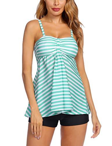 Avidlove Women Retro Sailor Stripe Dot Tankini Set Two Pieces Swimsuit Spaghetti Strap Swim Top and Bottoms Green XL