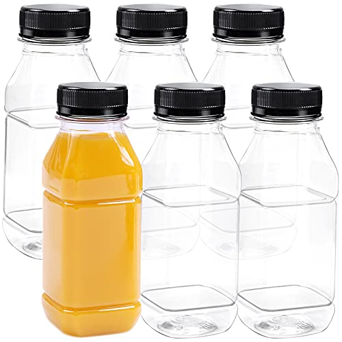 Aneco 6 Pack Clear Juice Bottles PET Empty Bottles with Lids Drink Containers Reusable Juices Bottles for Juice, Milk and Other Beverages