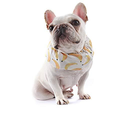 Jiawawa Huisdier Hond Hals Sjaal Koeling Kraag voor Kleine hond bulldog in Zomer banaan Hoofdband Verstelbare Ice Chill Out Kraag Sjaal met 4 Ice Packs, Large, Banaan