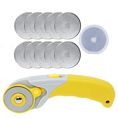 AUTOTOOLHOME 45mm Rotary Cutter Set 10 Pack Rotary Blades Patchwork Tool SKS-7 Quilting Sewing (Sliver Blades)