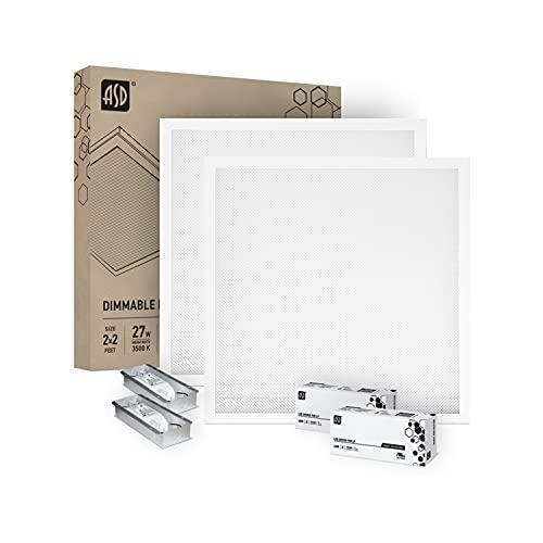 ASD 2x2 LED Direct-Lit Flat Panel 27W, 0-10V Dimmable LED Flat Panel Light 3500K (Warm Light) 3240Lm Indoor Commercial LED Troffer Drop Ceiling Light UL Listed DLC Certified - 2 Pack