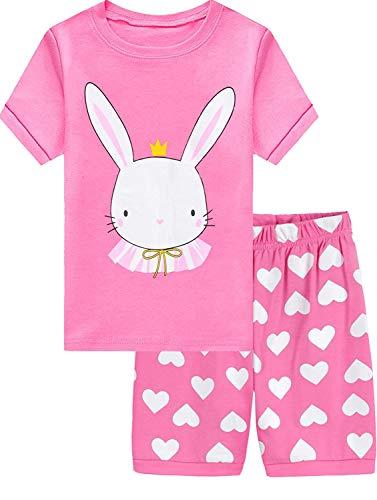 EULLA Mädchen Zweiteiliger Schlafanzug Kurz Einhorn Meerjungfrau Hase Eiscreme Kinder Baumwolle Sommer Pyjama Set 1-7 Jahre 6# Hase DE 116