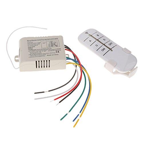 On/Off 4-Kanal-Schalter für Licht, kabellos, digital, mit Fernbedienung, 220–240V