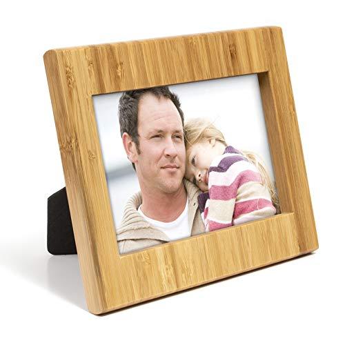 woodluv Bilderrahmen aus Bambus für Hoch- und Querformat Fotos und Bilder, inkl. Rückständer zur einfachen Positionierung (horizontaler oder vertikaler Bilderrahmen)