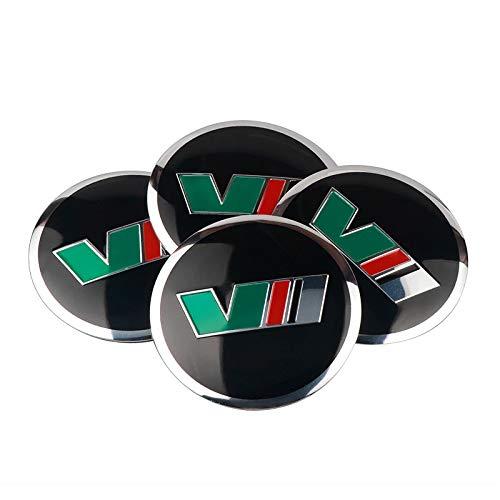 Tapas Para Llantas 4 unids de estilo de coche de 56 mm de aluminio compatible con VII VRS Logo Centro de ruedas del coche Cap Pegatina calcomanía compatible con Skoda Octavia Superb Fabia Roomster Yet