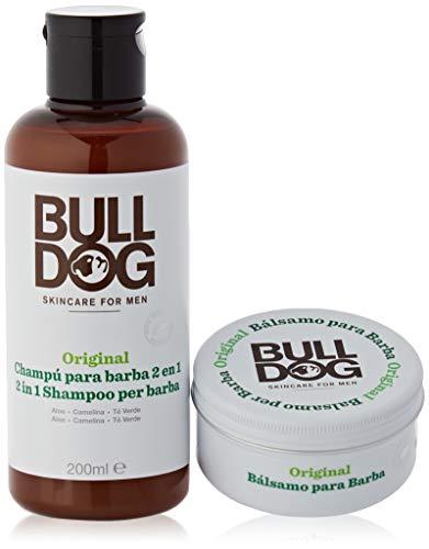 Bulldog - Cuidado Facial para Hombres - Kit Rutina Cuidado de Barba Larga, Champú & Acondicionador de Barba 200 ml + Bálsamo para Barba 75 ml