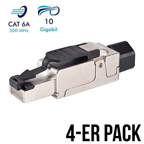 VESVITO 4X CAT 6A RJ45 Netzwerkstecker kompatibel mit CAT 7A CAT 7 Netzwerkkabel bis 10 GBit/s Ethernet 500MHz werkzeuglos, geschirmt, Crimpstecker Steckverbinder Stecker für Verlegekabel LAN Kabel