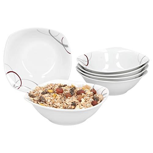 Lot de 6 blanc pur en porcelaine 15cm petit déjeuner cuisine céréales bols avoine bols