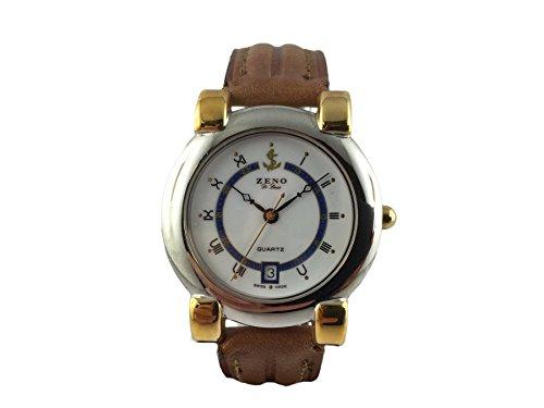 Orologio svizzero Zeno, stile nautico, placcato oro, numeri romani