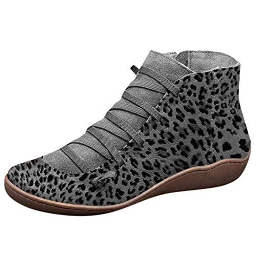 Yowablo Stiefel Damen Schwarz Boots Damen Leder Overknee Stiefel Rot Stiefeletten Damen Braun Overknee Stiefel Weiter Schaft Overknee Stiefel Flach Stiefel Damen Braun (41 EU,3- Grau)