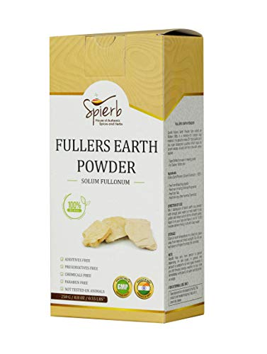 Spierb Fullers Earth Polvo de Arcilla India Arcilla Bentonita Multani Mitti Mud Powder para Pack facial Polvo de Arcilla Multani Puro 100% Natural Sin Productos Químicos Fullers Soil