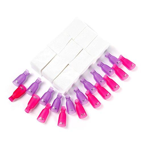 Clip para capuchas para uñas Disolvente para esmalte gel 20 piezas con 900...