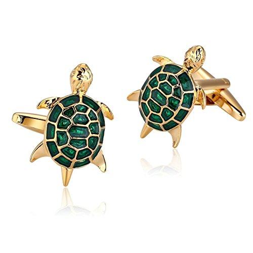 Aienid Schmuck Manschettenknöpfe Herren Edelstahl Goldgrün Meeresschildkröten Manschettenknöpfe Für Herren Geburtstag Manschettenknöpfe