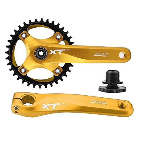 Xinwoer Mountainbike-Kurbelgarnitur aus Aluminiumlegierung Integriertes Kettenradsatz mit Einer Geschwindigkeit 170 mm Kurbelarmlänge, für Shimano, Prowheel, Sunrace, Truvativ, Sram(Gold)