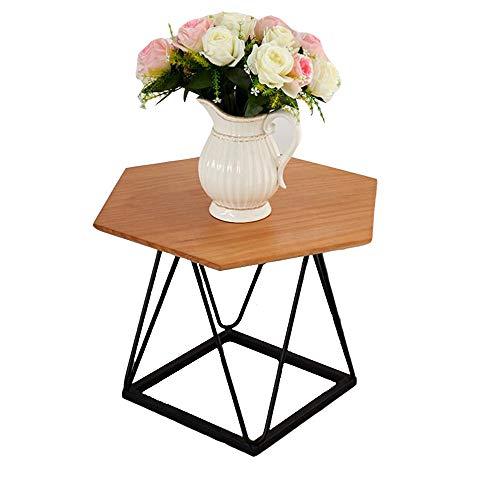 YNN Table Bureau en Bois de Support de thé pour Table Basse multifonctionnelle Moderne d'extrémité/Table d'appoint d'hexagone pour Le Salon 60 * 60 * 45cm
