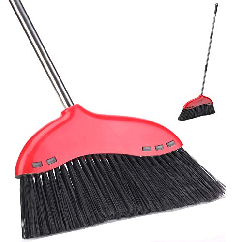 ANREKEYH Outdoor Broom for Floor Cleaning - Heavy Duty Commercial Sweeper Brooms for Garage, Patio, Lobby, Mall, Office and Concrete Floor, Indoor Angle Broom for Sweeping Home and Kitchen (52 inch)