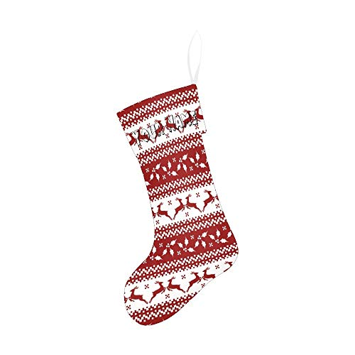 CUXWEOT Personalized Christmas Stocking with Name Custom Christmas Reindeer Stripe for Xmas Party Decoration Gift 17.52 x 7.87 Inch