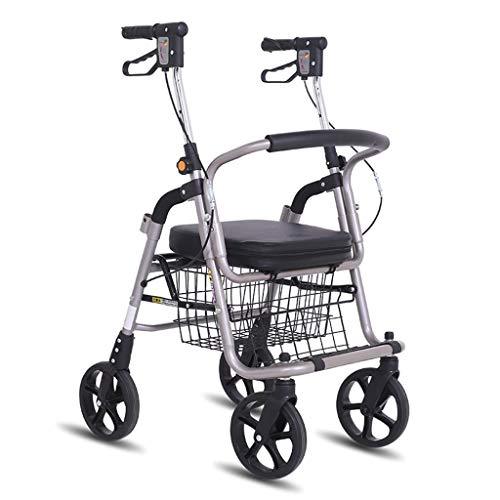 Einkaufstrolleys Old Warenkorb Aluminium-Legierung Roller Folding Tragbarer Walker Outdoor Rollstuhl Can 150 Kg Bär (Color : Black, Size : 72 * 50 * 87-98cm)