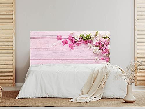 Oedim Cabecero Madera Rosa Flores, 200x60cm, cabecero Decorativo para Camas, decoración para Habitaciones