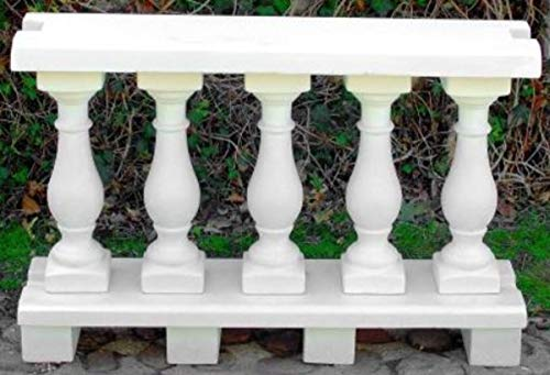 Casa Padrino balaustrada Art Nouveau Blanco 100 x 25 x A. 66 cm - Barandilla de Piedra Maciza Hechas del concreto más Fino - Balaustradas de Jardín y Terraza