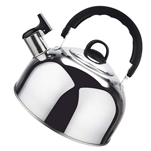 Hemoton Whistling Tea Kettle for Stovetop 1. 8L Stainless Steel Teapot Stove Top Induction Kettles for Boiling Water