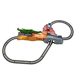 Track master train set includes motorized thomas, full track layout, tipping dragon and collapsing station with artwork featuring yong bao After thomas passes behind the dragon they tip forward and the station collapses to reveal additional track ...