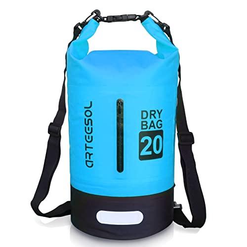 arteesol Dry Bag wasserdichte Tasche 5L/10L/20L/30L Wasserfester Beutel Packsack mit Langen Doppeltem Verstellbarer Schulterriemen für Schwimmen Bootfahren Kajak...