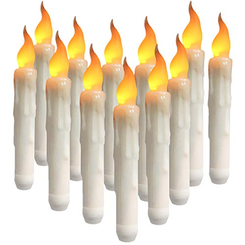 Yeahmart - Candele A LED Coniche A Candela, Senza Fiamma, Funzionamento A Batteria, Per Natale, Matrimonio, Chiesa, Feste Di Compleanno, Colore Giallo Caldo, Diametro 0,79 X 16,5 Cm 12 Pezzi.