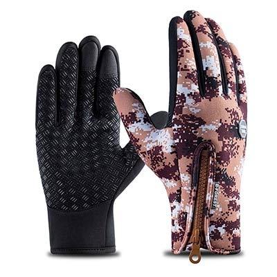 MYSdd Camo wasserdichte warme Winterhandschuhe Winddichte Outdoor-Handschuhe verdicken warme Handschuhe Touchscreen-Handschuhe Unisex-Herren-Fahrradhandschuh - Braun X XL