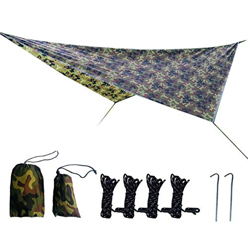Canopy Tent, 3.6m×2.8m Rhombus Canopy Awning Waterproof and UV-Proof Sun Visor Outdoor Patio Lawn Garden Backyard Ground Shading Cloth with Accessories-Camouflage