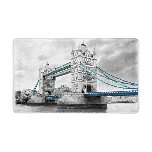LVOE TTL Vintage Tower Bridge auf der Themse in London England Fußmatte Anti-Rutsch-Eingangsmatte Boden Teppich Indoor/Outdoor-Fußmatte, 23,6 X 15,8 Zoll