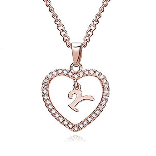 ITVIP Collar de Mujer con Colgante, Forma de corazón con circonita cúbica y Colgante con Forma de Letra, Regalo para Mujeres o niñas