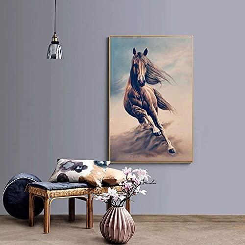 Pintura al óleo abstracta de animales sobre lienzo carteles e impresiones arte de pared Correr Caballos cuadros decoración del hogar 20x28 pulgadas sin marco