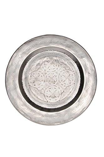 Orientalisches rundes Tablett aus Metall Kamil 48cm   Marokkanisches Teetablett in der Farbe Silber   Orient Silbertablett silberfarbig   Orientalische Dekoration auf dem gedeckten Tisch